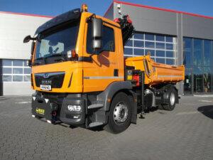 LKW Pavic - Kran Kipper Fahrzeuge - MAN orange vorne rechts